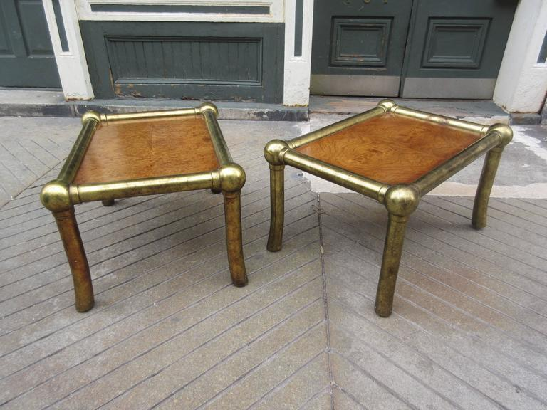 Pair of Drexel End Tables in Pecan and Distressed Gold Leaf 2