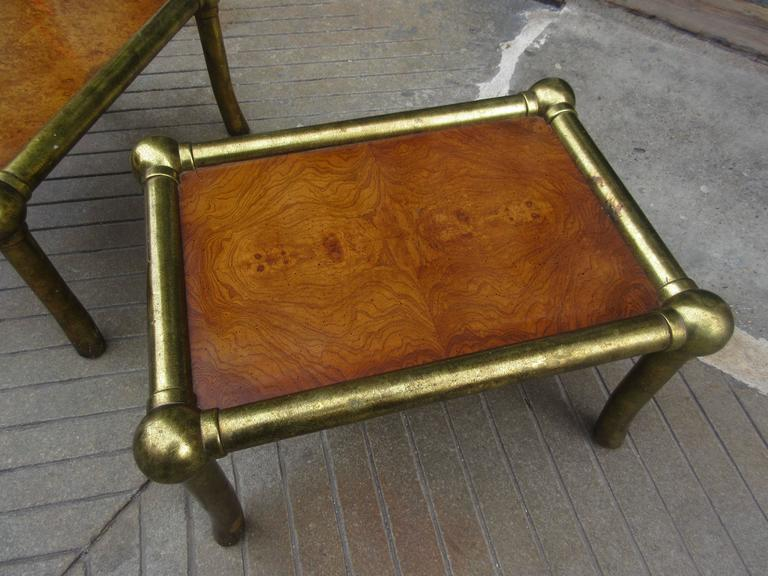 Pair of Drexel End Tables in Pecan and Distressed Gold Leaf 4