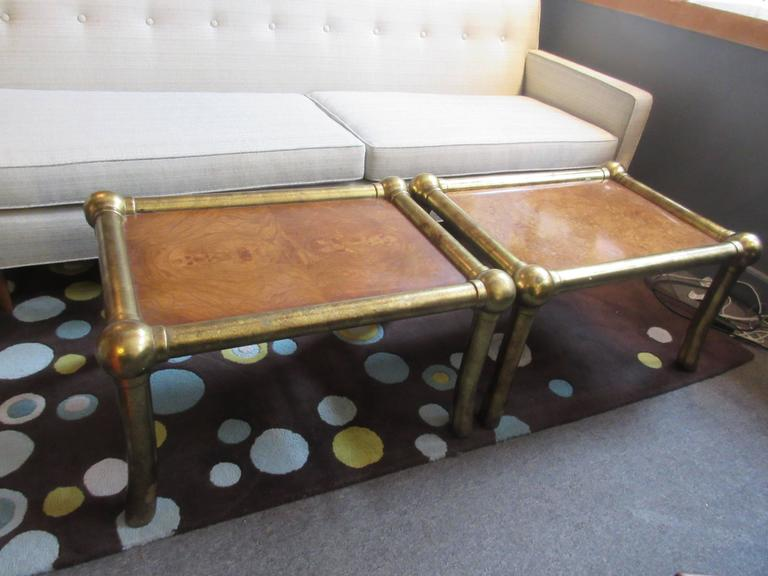 Pair of Drexel End Tables in Pecan and Distressed Gold Leaf 7