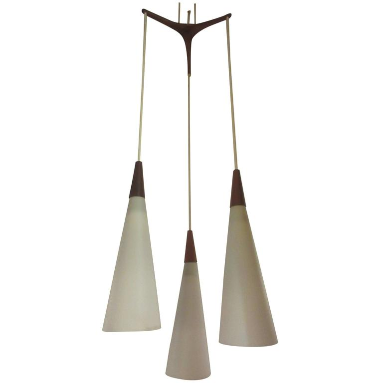 Danish Tripod Chandelier with Teak Accents 1