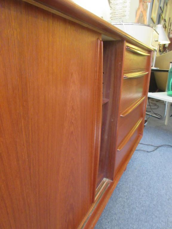 Danish Teak Credenza with Drawers and Sliding Doors 8