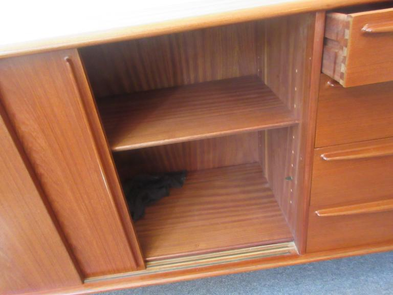 Danish Teak Credenza with Drawers and Sliding Doors 4