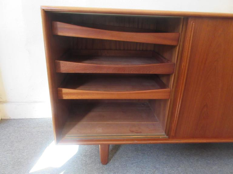 Danish Teak Credenza with Drawers and Sliding Doors 5