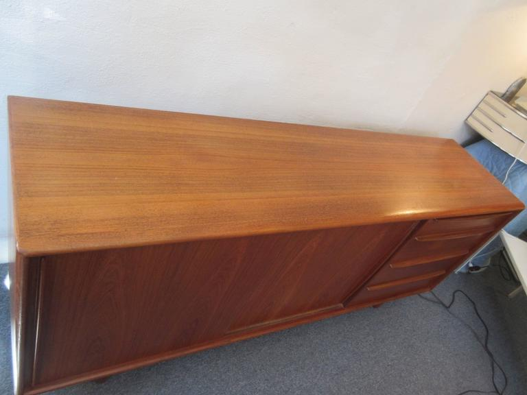 Danish Teak Credenza with Drawers and Sliding Doors 9