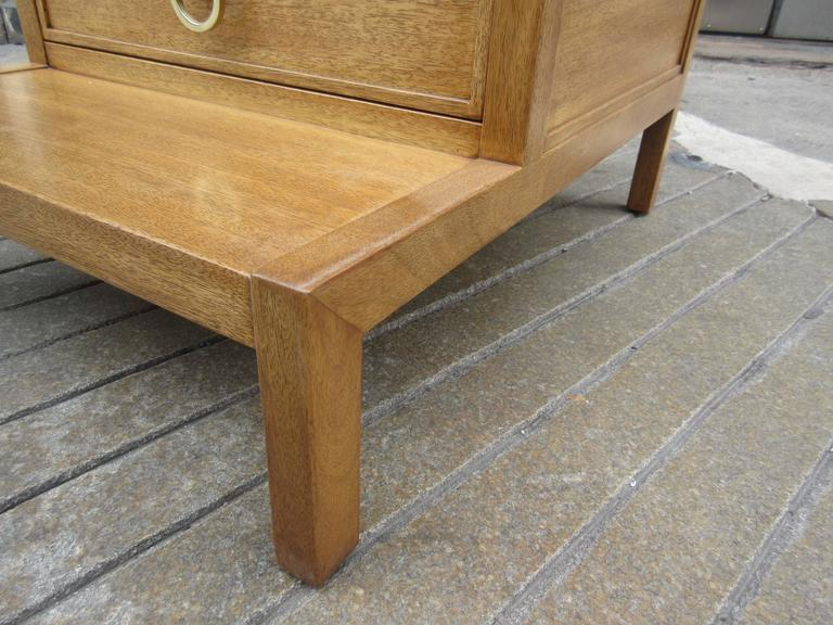 American John Widdicomb for Widdicomb Stepped Side Table with Drawer in Honey Mahogany For Sale