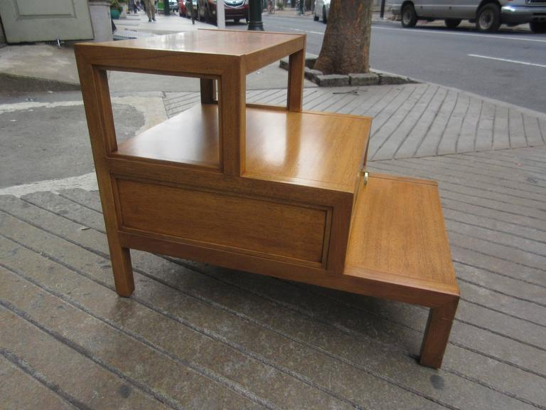 John Widdicomb for Widdicomb Stepped Side Table with Drawer in Honey Mahogany In Excellent Condition For Sale In Philadelphia, PA
