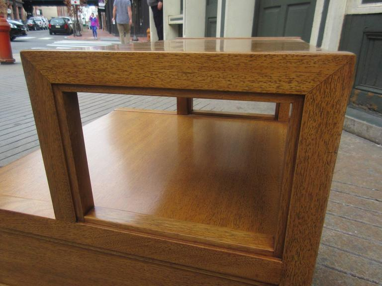 John Widdicomb for Widdicomb Stepped Side Table with Drawer in Honey Mahogany For Sale 1