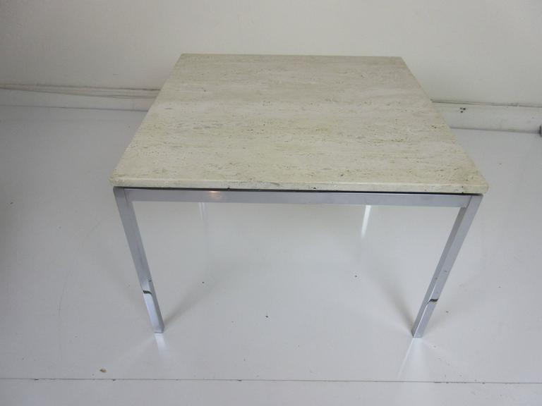 Mid-Century Modern Florence Knoll Travertine and Chrome Side/Coffee Table for Knoll International For Sale
