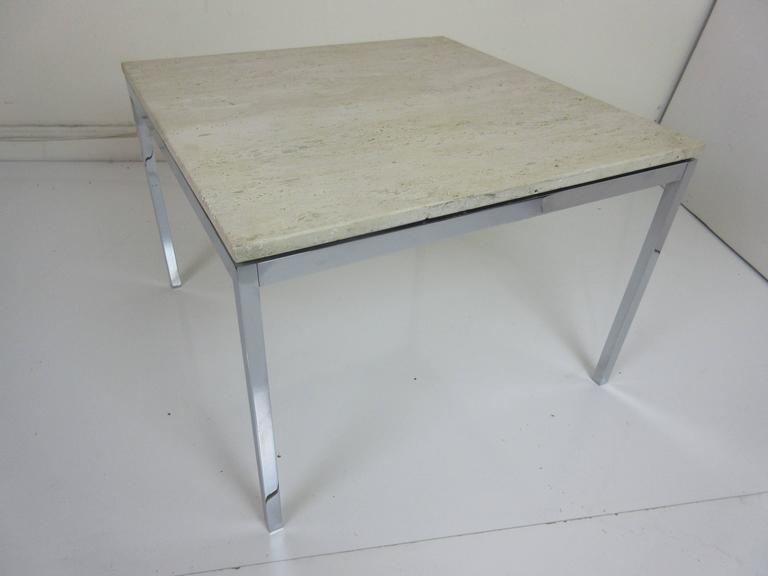Mid-20th Century Florence Knoll Travertine and Chrome Side/Coffee Table for Knoll International For Sale