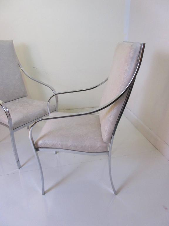 Milo Baughman For Thayer Coggin Six Dining Chairs With Swooping Chrome Arms  And Original Deco Revival