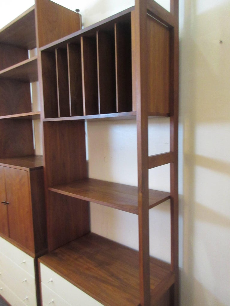 Hardwood house wall or room divider shelving system for for Room divider storage