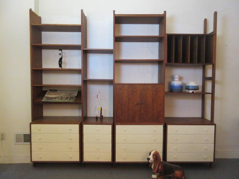 Hardwood House Wall or Room-Divider Shelving System For Sale 2