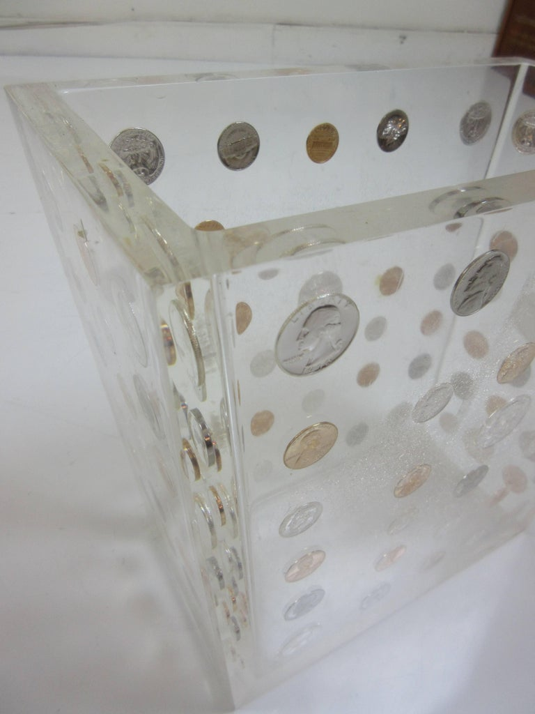 Lucite Waste Can with American Coins form the 1970s 4