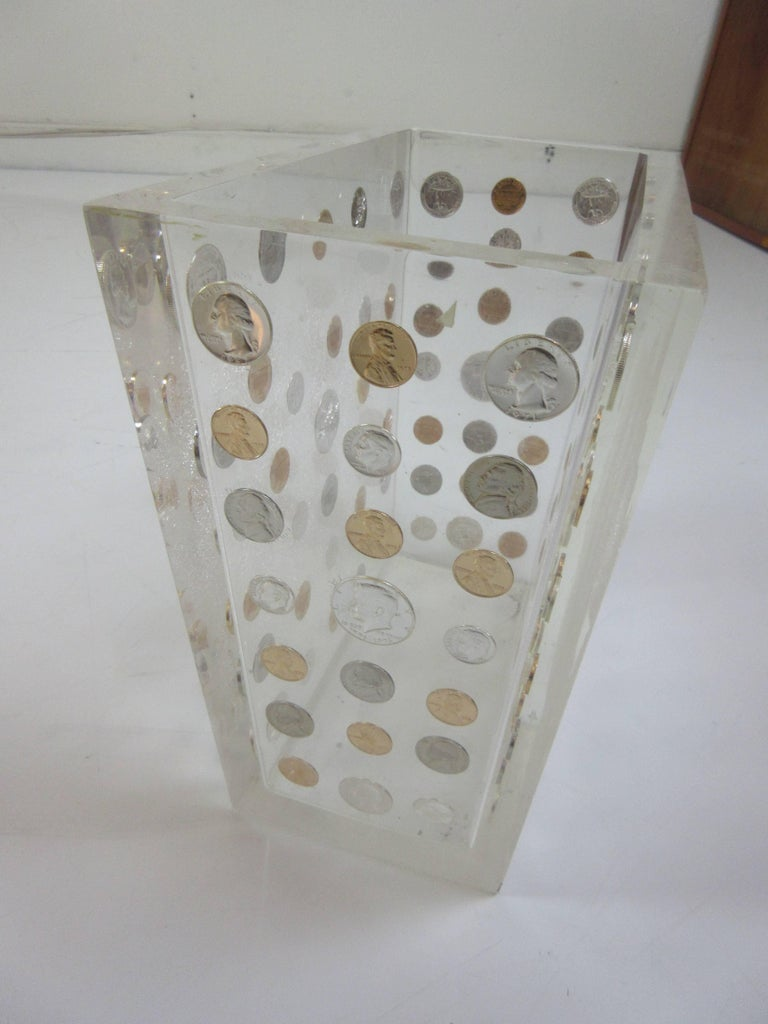 Lucite Waste Can with American Coins form the 1970s 5