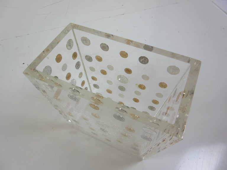 Lucite Waste Can with American Coins form the 1970s 2