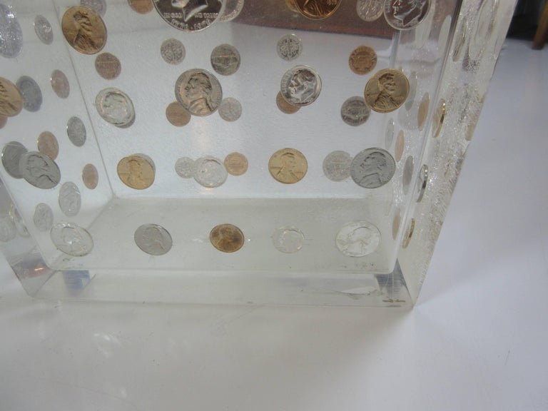 Lucite Waste Can with American Coins form the 1970s 3