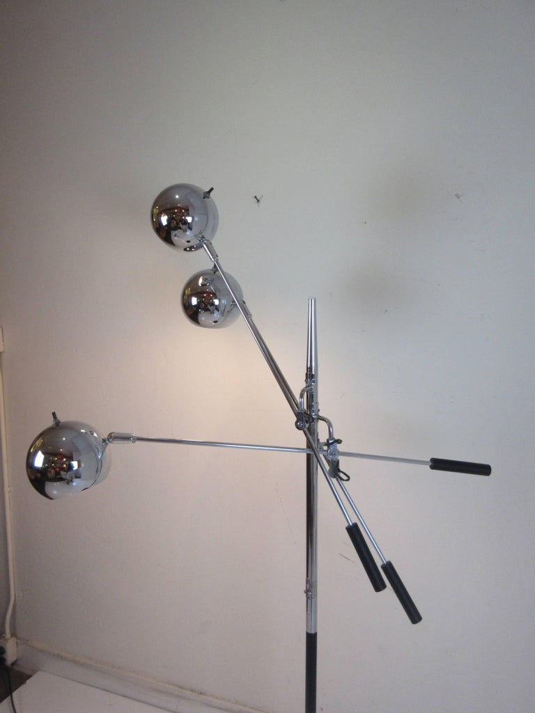 Metal Robert Sonneman Atomic Ball Chrome Floor Lamp For Sale