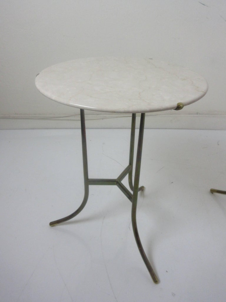 Cedric Hartman Marble and Brass End Tables 4