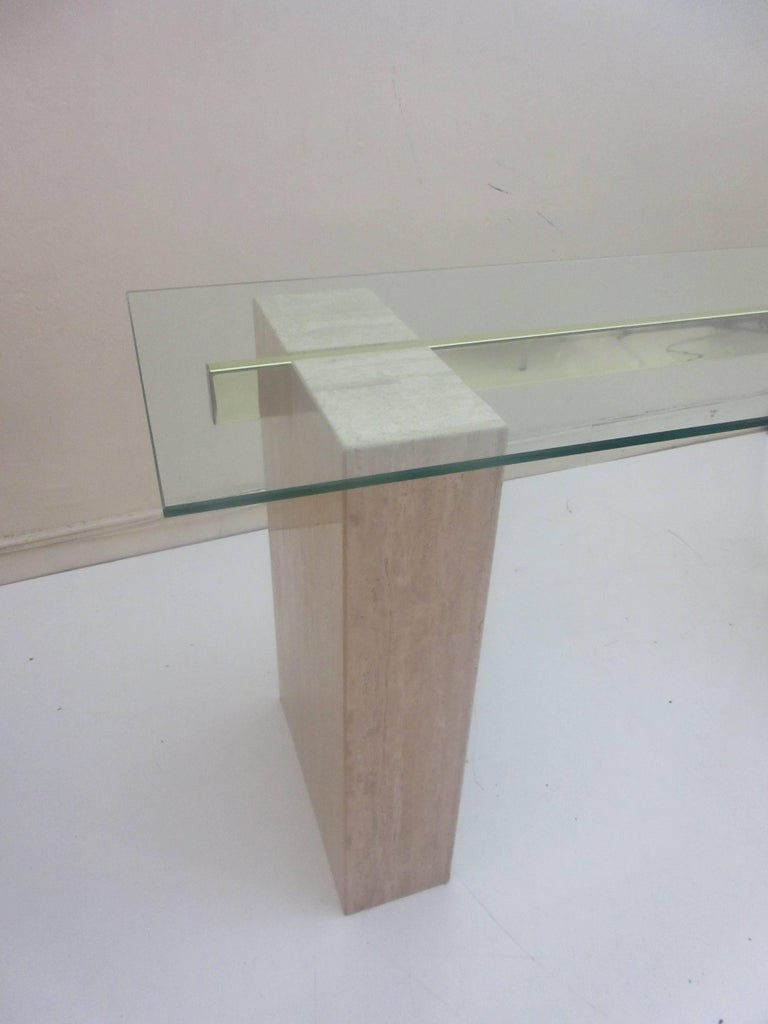 Mid-Century Modern Artedi Console Table in Travertine Brass and Glass For Sale