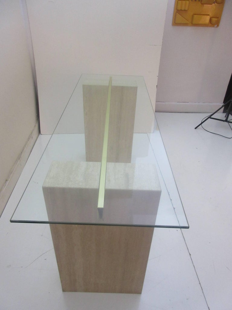 Italian Artedi Console Table in Travertine Brass and Glass For Sale