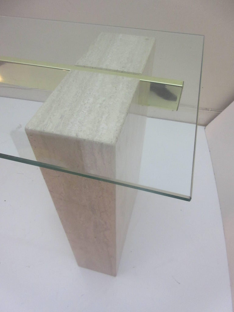Artedi Console Table in Travertine Brass and Glass In Excellent Condition For Sale In Philadelphia, PA