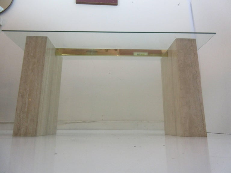 Late 20th Century Artedi Console Table in Travertine Brass and Glass For Sale