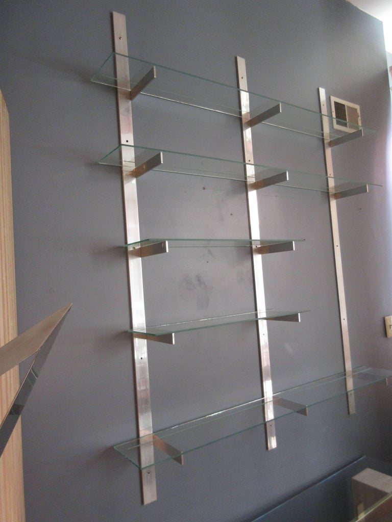 American Aluminium and Glass Shelving Unit in the Style of Pace For Sale