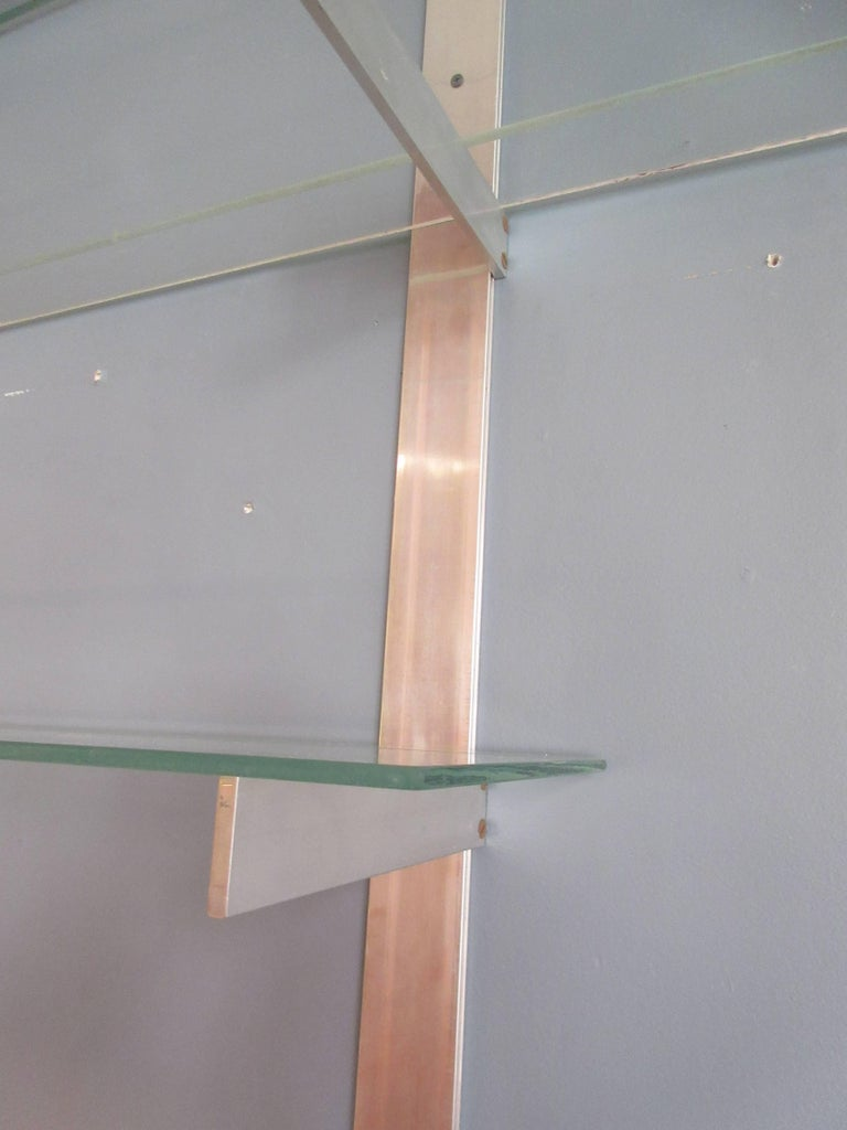 Aluminium and Glass Shelving Unit in the Style of Pace In Excellent Condition For Sale In Philadelphia, PA
