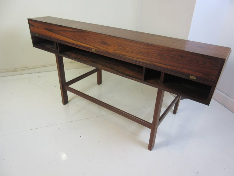 Brass Jens Quistgaard for Lovig in Rosewood Flip Desk For Sale