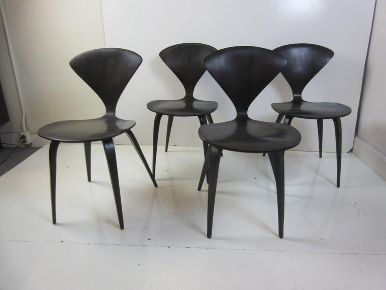 Mid-20th Century Norman Cherner Walnut Side Chairs, Set of Four For Sale