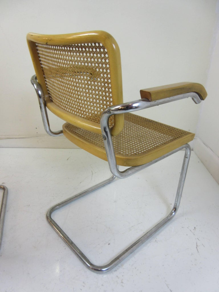 Marcel Breuer Cesca Arm Chairs by Gavina In Excellent Condition For Sale In Philadelphia, PA