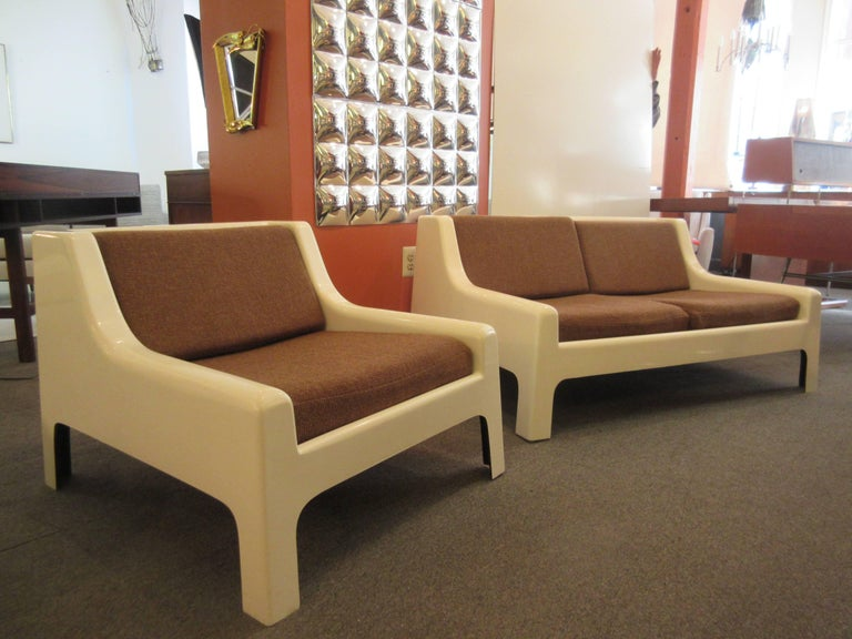 Painted Cappellini 1960s Fiberglass Sofa and Chair For Sale