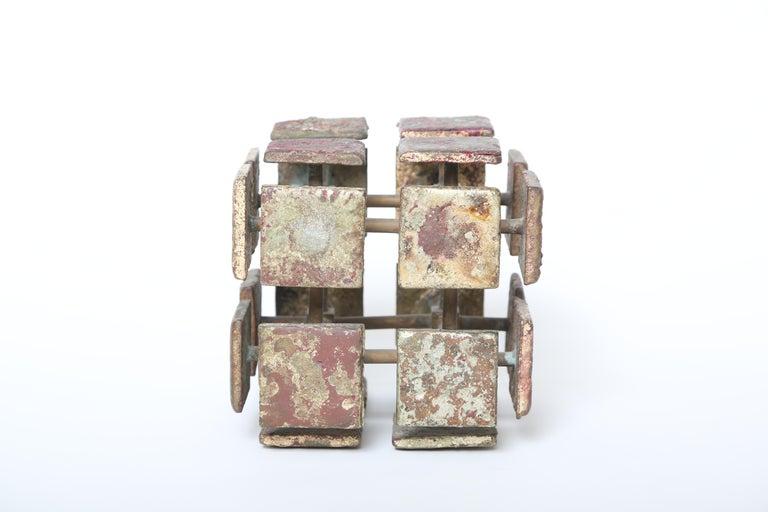 Mid-20th Century Harry Bertoia Bronze Multi-Plane Cube Sculpture For Sale