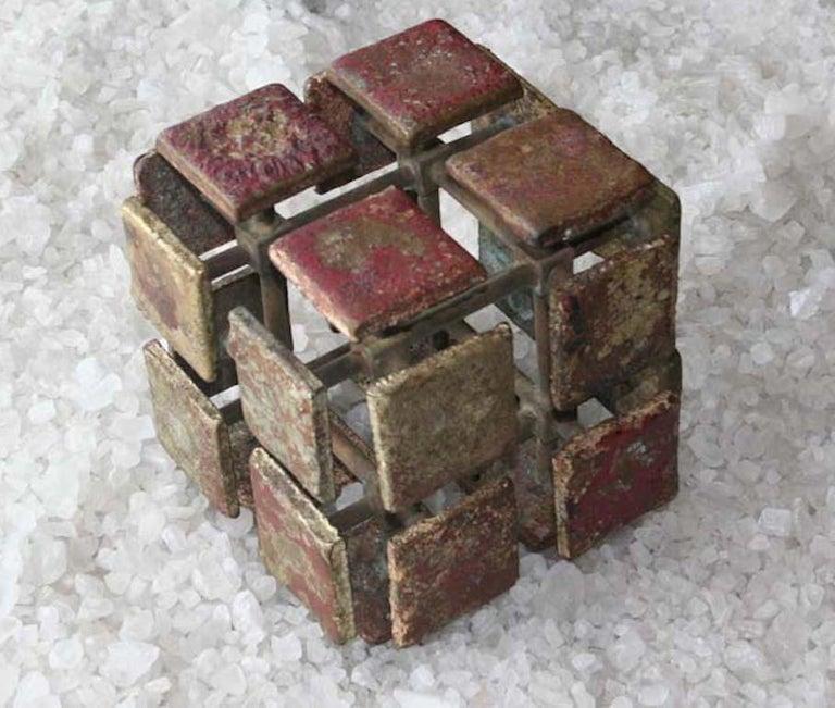 Harry Bertoia Bronze Multi-Plane Cube Sculpture In Good Condition For Sale In West Palm Beach, FL