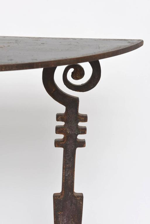 Mid-20th Century Hand-Forged and Cut Steel Console and Mirror For Sale