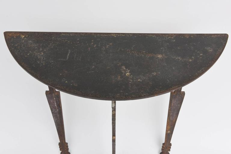 Hand-Forged and Cut Steel Console and Mirror In Good Condition For Sale In West Palm Beach, FL