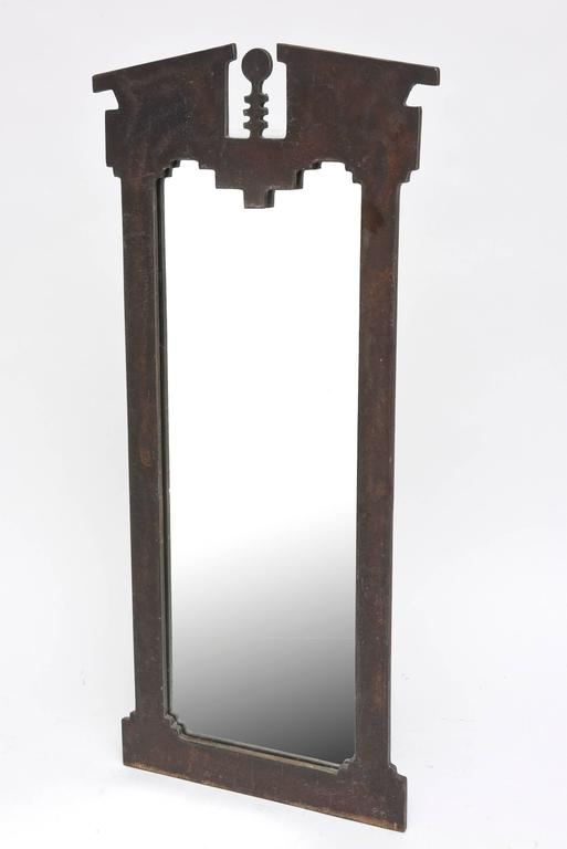 American Hand-Forged and Cut Steel Console and Mirror For Sale