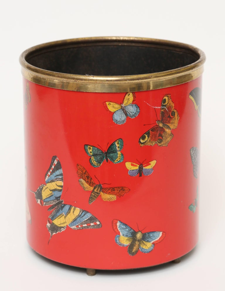 Fornasetti Farfalle Waste Basket Trash Can At 1stdibs