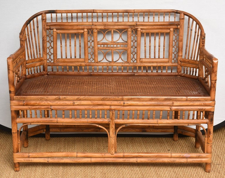 Vintage Bamboo Settee with Cane Seat 2