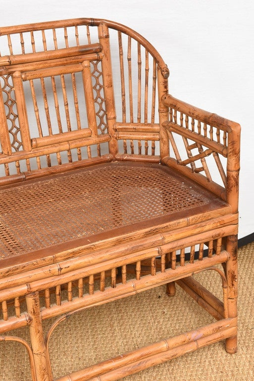 Vintage Bamboo Settee with Cane Seat In Excellent Condition For Sale In West Palm Beach, FL