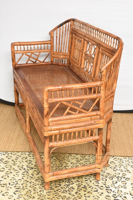 20th Century Vintage Bamboo Settee with Cane Seat For Sale