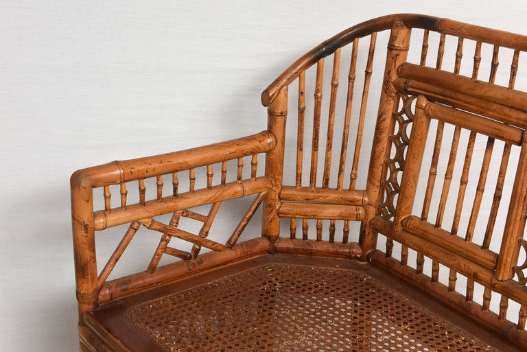 Vintage Bamboo Settee with Cane Seat For Sale 1