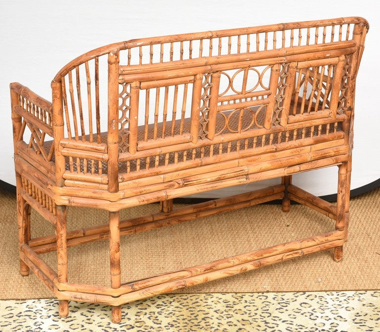Vintage Bamboo Settee with Cane Seat For Sale 2