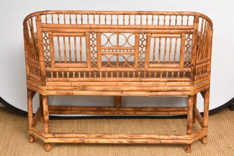Vintage Bamboo Settee with Cane Seat For Sale 3