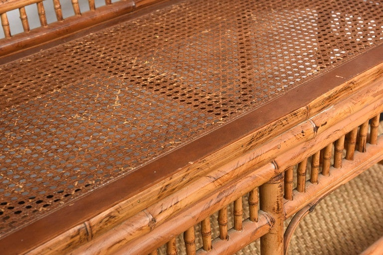 Vintage Bamboo Settee with Cane Seat For Sale 4