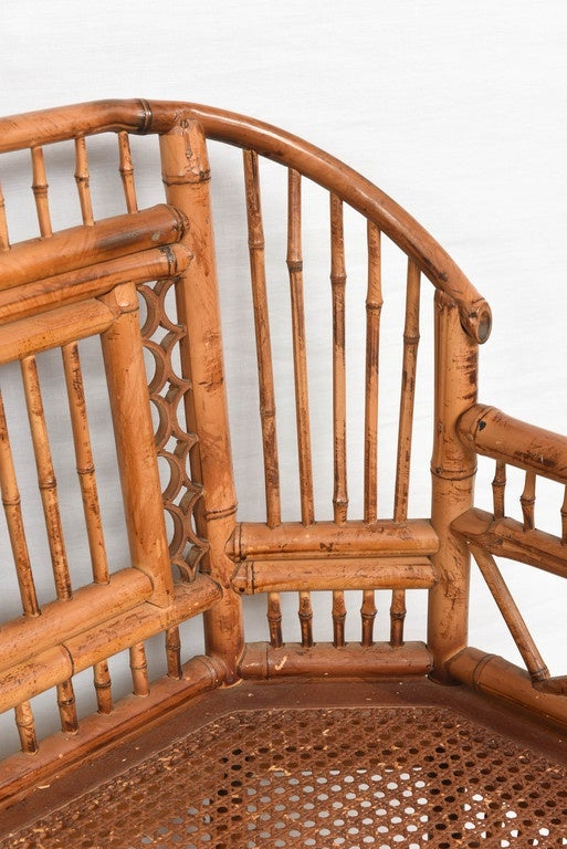 Vintage Bamboo Settee with Cane Seat For Sale 5