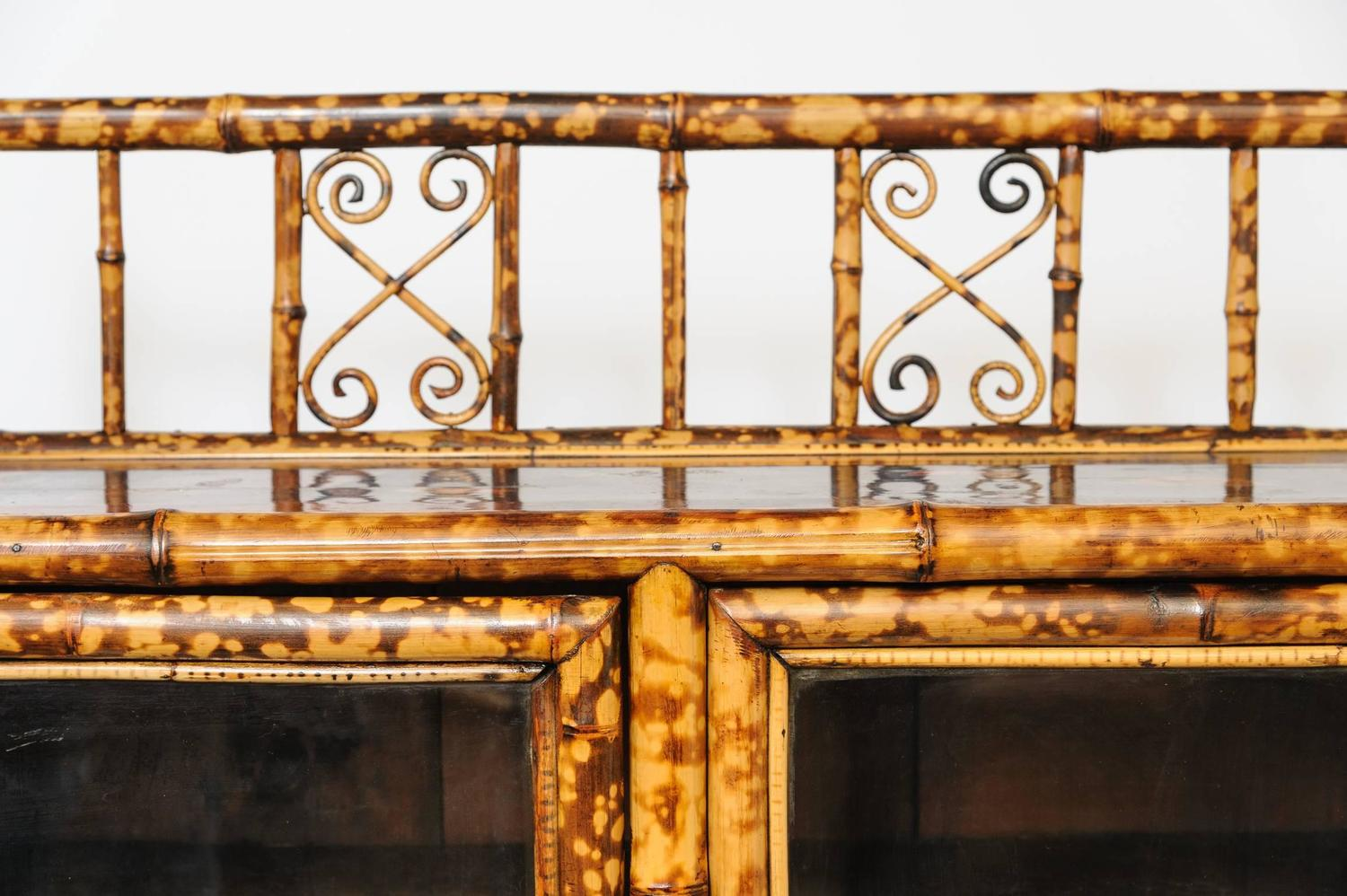 Superb 19th century english bamboo two door cabinet or for Bamboo kitchen cabinets for sale