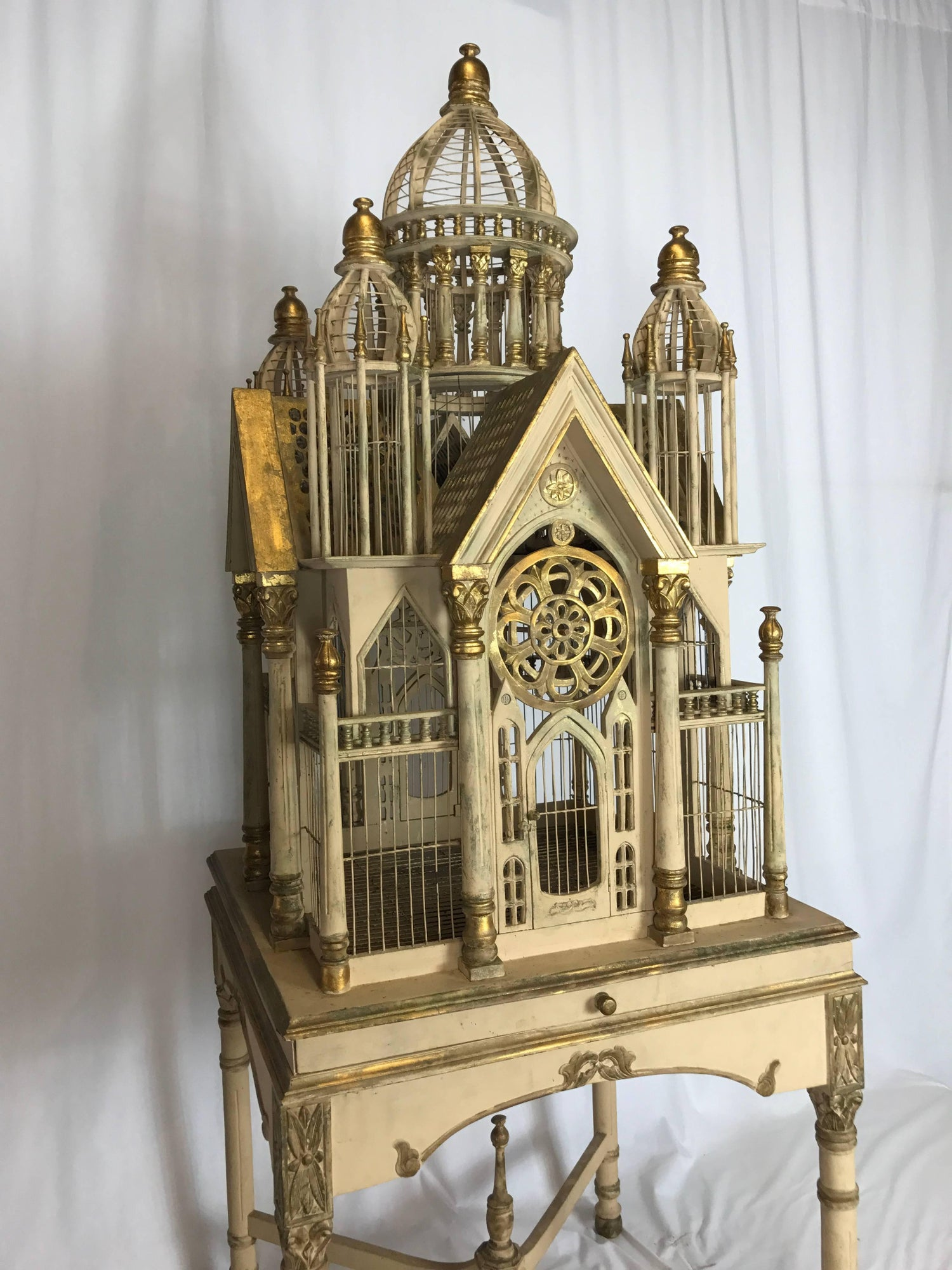 Superb Tall Vintage Victorian Style Cathedral Bird Cage For Sale