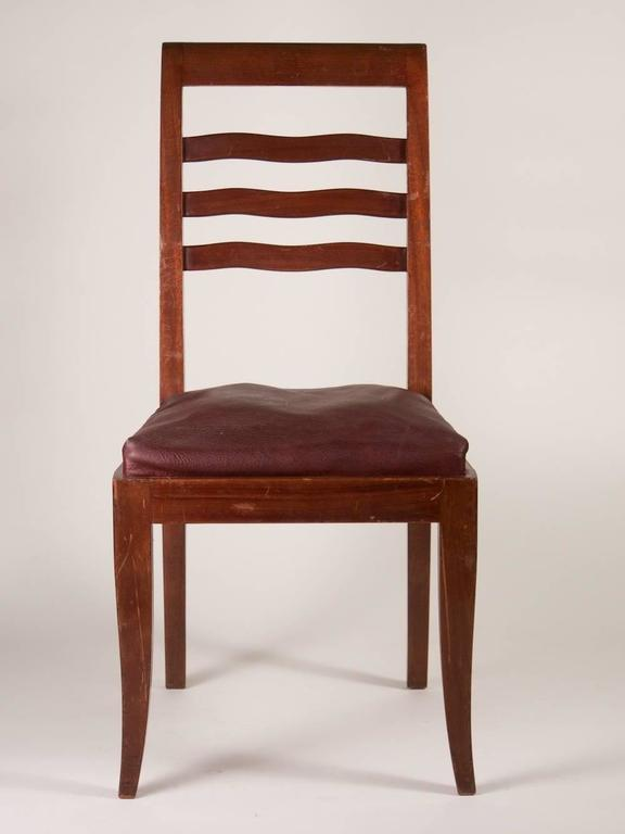 French Paul Frechet Set of Six Mahogany Dining Chairs For Sale