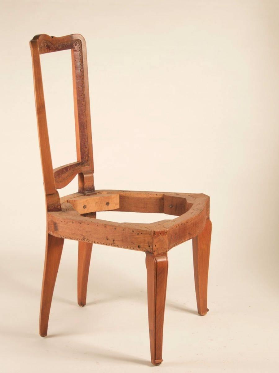 Andre Arbus Set Of Eight Dining Chairs In Cherry For Sale